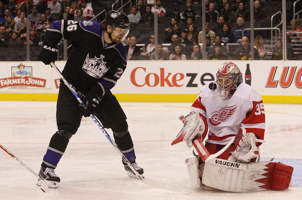 Jimmy Howard #35 of the Detroit Red Wings makes the mask save against Michal Handzus #26 of the Los Angeles Kings at the Staples Center on January 7, 2010 in Los Angeles, California.