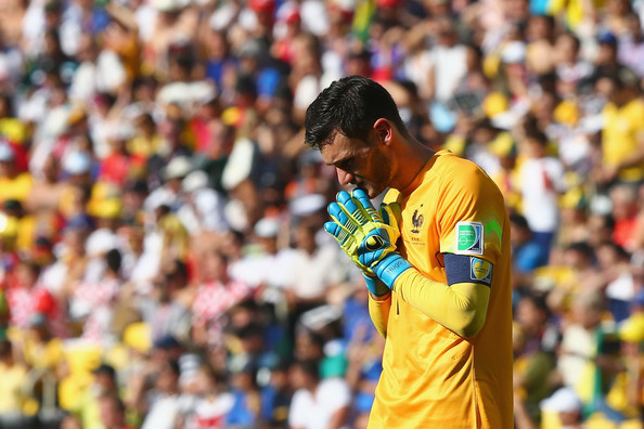 Hugo Lloris of France reacts during the 2014 FIFA World Cup Brazil Quarter Final match between France and Germany at Maracana on July 4, 2014 in Rio de Janeiro, Brazil.