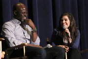 "(L-R) Actor Djimon Hounsou and actress America Ferrera speak at ""How To Train Your Dragon 2"" Special Screening And Q&A at Harmony Gold Theatre on January 26, 2015 in Los Angeles, California."