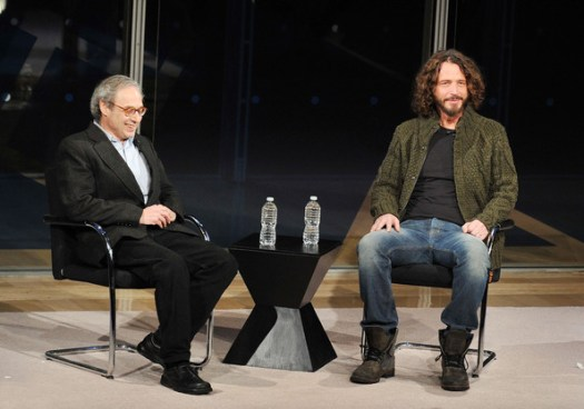 Jon Pareles Writer Jon Pareles (L) interviews singer/musician Chris Cornell at the New York Times TimesTalk during the 2012 NY Times Arts & Leisure weekend>> at The Times Center on January 7, 2012 in New York City.