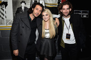 (L-R) Nasri, Meghan Trainor and Ben Spivak attend KISS 108's Jingle Ball 2014, presented by Market Basket Supermarkets at TD Garden on December 14, 2014 in Boston, Massachusetts.