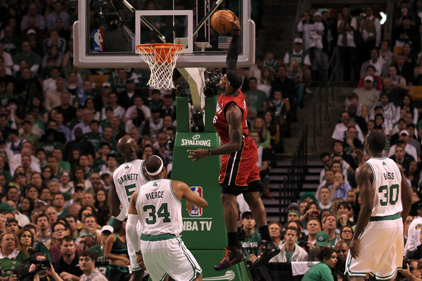 LeBron James LeBron James #6 of the Miami Heat dunks in the first quarter against the Boston Celtics in Game Six of the Eastern Conference Finals in the 2012 NBA Playoffs on June 7, 2012 at TD Garden in Boston, Massachusetts. NOTE TO USER: User expressly acknowledges and agrees that, by downloading and or using this photograph, User is consenting to the terms and conditions of the Getty Images License Agreement.