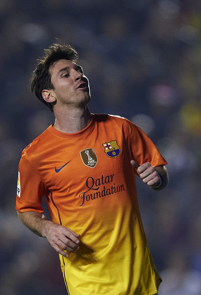 Lionel Messi of Barcelona reacts as he fails to score during the la Liga match between Levante UD and FC Barcelona at Ciutat de Valencia on November 25, 2012 in Valencia, Spain.