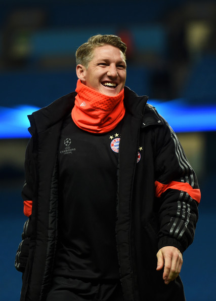 Bastian Schweinsteiger of Bayern Muenchen inspects the pitch on arrival at the stadium during the UEFA Champions League Group E match between Manchester City and FC Bayern Muenchen at the Etihad Stadium on November 25, 2014 in Manchester, United Kingdom.