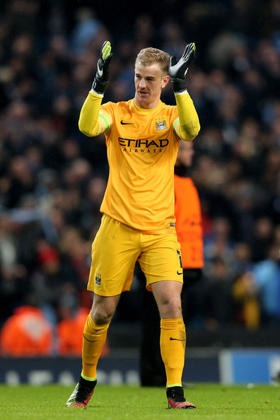 Joe Hart of Manchester City applauds the fans following their 3-2 victory during the UEFA Champions League Group E match between Manchester City and FC Bayern Muenchen at the Etihad Stadium on November 25, 2014 in Manchester, United Kingdom.