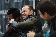(L-R) Danny Wood and Donnie Wahlberg of New Kids On The Block attend the New Kids On The Block Press Conference at Madison Square Garden on January 20, 2015 in New York City.