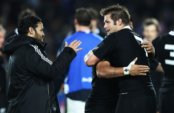 Richie McCaw of the All Blacks celebrates victory with Piri Weepu (L) after the IRB 2011 Rugby World Cup Pool A match between New Zealand and France at Eden Park on September 24, 2011 in Auckland, New Zealand.