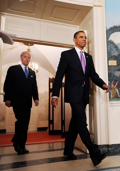 President Barack Obama and Vice President Joe Biden (L) arrive to deliver remarks on financial reform on in the Diplomatic Reception Room on January 21, 2010 in Washington, DC. Obama announced measures to narrow the size and scope of banks and their investment activities.