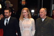 (L-R) Actor James Franco, actress Nicole Kidman and director Werner Herzog attend the 'Queen of the Desert' premiere during the 65th Berlinale International Film Festival at Berlinale Palace on February 6, 2015 in Berlin, Germany.