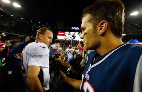 Tom Brady and Peyton Manning - Denver Broncos v New England Patriots