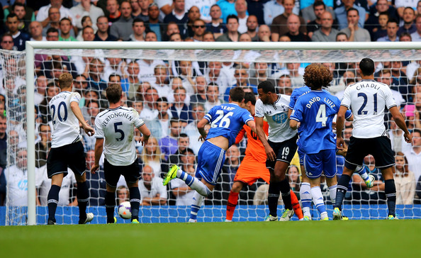 John Terry of Chelsea (26) scores their first goal with a header during the Barclays Premier League match between Tottenham Hotspur and Chelsea at White Hart Lane on September 28, 2013 in London, England.