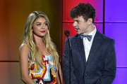 Actors Sarah Hyland (L) and Nolan Gould speak onstage during 'TrevorLIVE LA' Honoring Robert Greenblatt, Yahoo and Skylar Kergil for The Trevor Project presented by Wells Fargo at Hollywood Palladium on December 7, 2014 in Los Angeles, California.