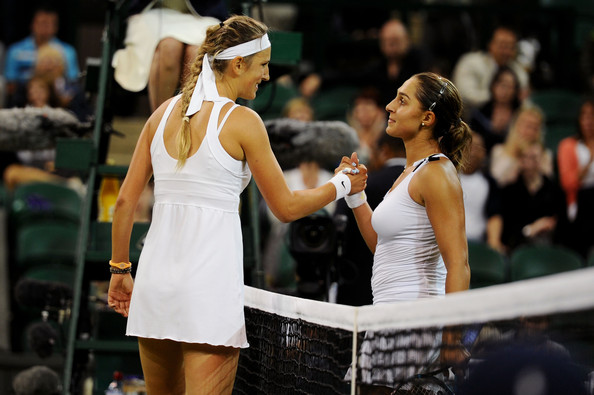 Tamira Paszek and Victoria Azarenka - The Championships - Wimbledon 2011: Day Eight