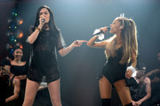 Jessie J and Ariana Grande perform onstage during Y100's Jingle Ball 2014 at BB&T Center on December 21, 2014 in Miami, FL.