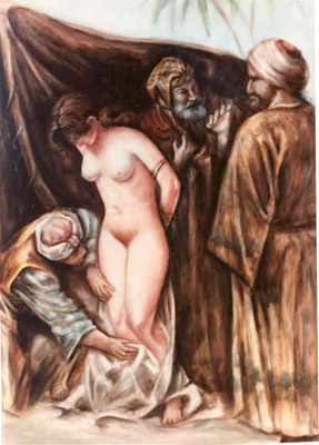 slave girl inspected by Muslim sheikhs