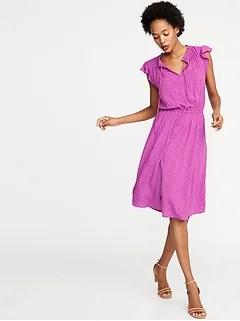 Waist-Defined Tie-Neck Dress for Women