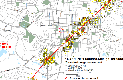Sanford-Raleigh tornado track in Raleigh with damage assessment - click to enlarge