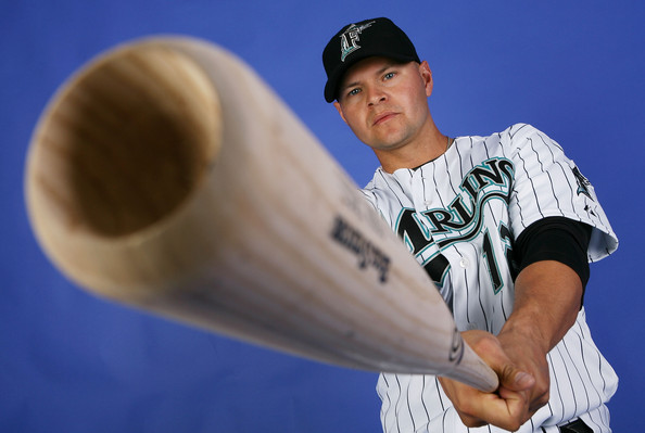 Cody Ross #12 of the Florida Marlins poses during photo day at Roger Dean Stadium February 22, 2009 in Jupiter, Florida.  (Photo by Doug Benc/Getty Images) *** Local Caption *** Cody Ross