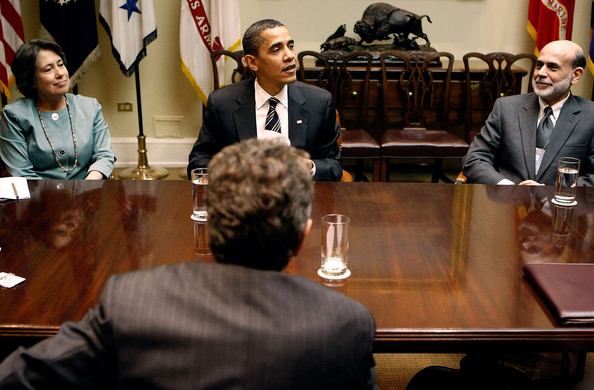 Ben Bernanke U.S. President Barack Obama (C) holds a meeting with Federal Reserve Chairman Ben Bernanke (R), Federal Deposit Insurance Corporation Chair Sheila Bair (L) and Treasury Secretary Timothy Geithner (back to camera) in the Roosevelt Room at the White House April 10, 2009 in Washington, DC. Obama was updated on a broad range of economic and financial topics including ongoing efforts to stabilize our financial system and get lending moving again so that it supports economic recovery.  (Photo by Chip Somodevilla/Getty Images) *** Local Caption *** Barack Obama;Timothy Geithener;Ben Bernanke;Sheila Bair