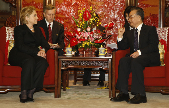 Wen Jiabao US Secretary of State Hillary Clinton meets Chinese Prime Minister Wen Jiabao on February 21, 2009 in Beijing, China. Clinton is on a three day visit to the Chinese capital, as part of her first diplomatic tour to Asia. (Photo by Oliver Weiken-Pool/Getty Images) *** Local Caption *** Wen Jiabao;Hillary Clinton