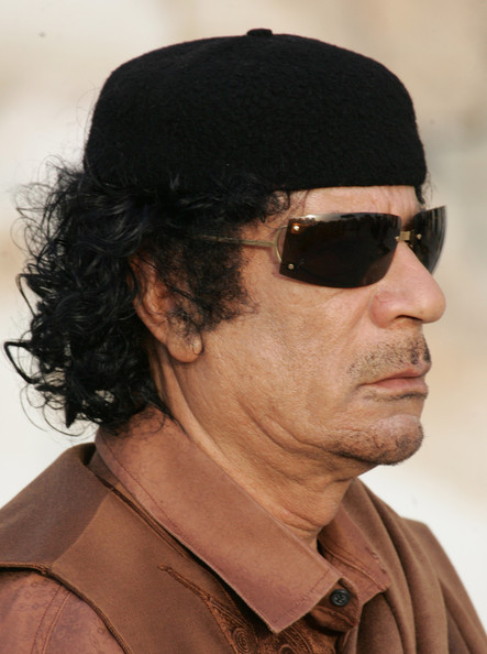 Libyan leader Muammar Qadaffi waits to meet with President Vladimir Putin of Russia on April 16, 2008 In Tripoli, Libya. Putin is in Libya for a two-day official visit to rebuild Russian-Libyan relations.