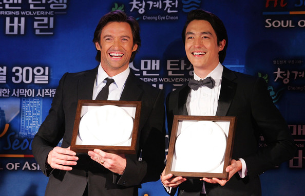 Hugh Jackman and Daniel Henney at the South Korean premiere