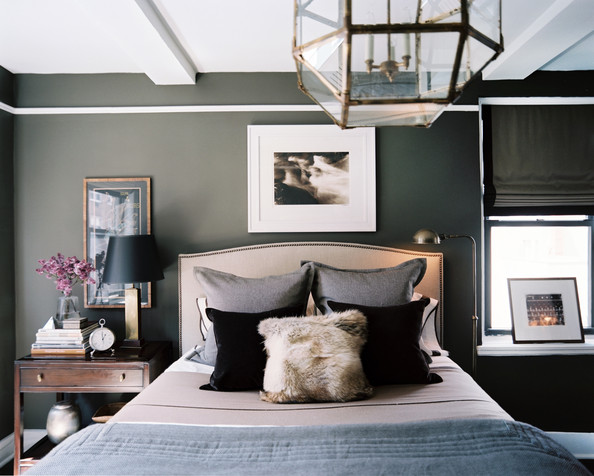 Bedroom - A masculine bedroom with gray walls
