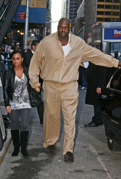 """Nicole Alexander Tim McGraw, Shaquille O'Neal and his girlfriend, reality star Nicole """"Hoopz"""" Alexander, arrive for an appearance on """"The Late Show with David Letterman"""" at the Ed Sullivan Theater."""