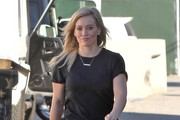 Actress/Singer Hilary Duff spotted out running some errands in Beverly Hills, California on December 27, 2014. Earlier Hilary dropped off her son Luca with her estranged husband Mike Comrie so the two could have a father/son day.