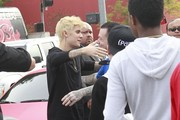 Pop star Justin Bieber shows off his new platinum blonde hairstyle while attending the Grand Opening of West Coast Customs in Burbank, California on December 7, 2014. Along with his new hairdo, Justin also recently changed his living situation, moving into a new 6,537 square foot pad in Beverly Hills.