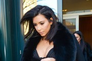 Reality star Kim Kardashian is seen stepping out in New York City, New York on February 11, 2015.