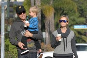 """Wild"" star Reese Witherspoon makes a morning Starbucks run with her husband Jim and their son Tennessee on February 6, 2015 in Santa Monica, California. Reese will soon be featured on the cover of the 21st annual Vanity Fair Hollywood Issue, with fellow stars Amy Adams and Channing Tatum."