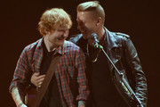 Recording artists Ed Sheeran (L) and Macklemore perform onstage during the 2014 iHeartRadio Music Festival at the MGM Grand Garden Arena on September 20, 2014 in Las Vegas, Nevada.