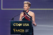 Actress Scarlett Johansson speaks onstage during the 2015 G'Day USA GALA featuring the AACTA International Awards presented by QANTAS at Hollywood Palladium on January 31, 2015 in Los Angeles, California.