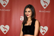Actress Victoria Justice attends the 25th anniversary MusiCares 2015 Person Of The Year Gala honoring Bob Dylan at the Los Angeles Convention Center on February 6, 2015 in Los Angeles, California. The annual benefit raises critical funds for MusiCares' Emergency Financial Assistance and Addiction Recovery programs.
