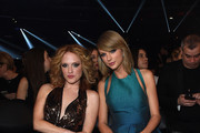 Abigail Anderson and recording artist Taylor Swift attend The 57th Annual GRAMMY Awards at the STAPLES Center on February 8, 2015 in Los Angeles, California.
