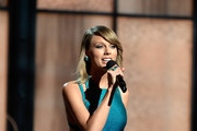 Singer Taylor Swfit speaks onstage during The 57th Annual GRAMMY Awards at the at the STAPLES Center on February 8, 2015 in Los Angeles, California.