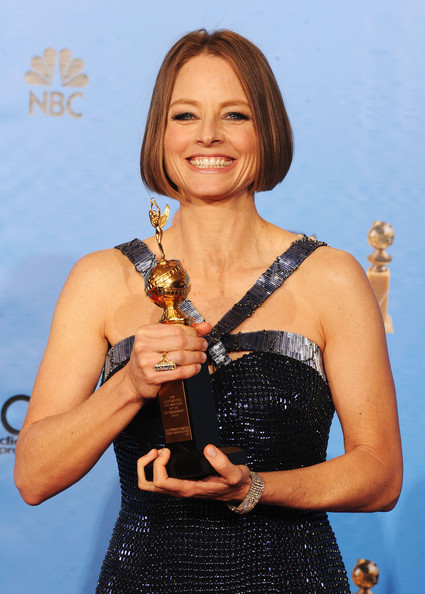 Actress-director Jodie Foster, winner of the Cecil B. De Mille Award, poses in the press room during the 70th Annual Golden Globe Awards held at The Beverly Hilton Hotel on January 13, 2013 in Beverly Hills, California.