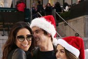 """Actors Shay Mitchell, Tyler Blackburn and Lucy Hale attend ABC's """"25 Days Of Christmas"""" Celebration at Cucina at Rockerfellar Center on December 7, 2014 in New York City."""