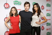 "Actors Lucy Hale, Tyler Blackburn and Shay Mitchell attend ABC's ""25 Days Of Christmas"" Celebration at Cucina at Rockerfellar Center on December 7, 2014 in New York City."