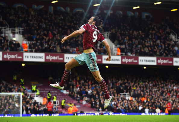 Andy Carroll Andy Carroll of West Ham celebrates scoring their second goal  during the Barclays Premier League match between West Ham United and Swansea City at Boleyn Ground on December 7, 2014 in London, England.