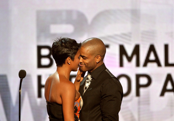 Actors Nia Long and Larenz Tate speak onstage during the 2010 BET Awards held at the Shrine Auditorium on June 27, 2010 in Los Angeles, California.
