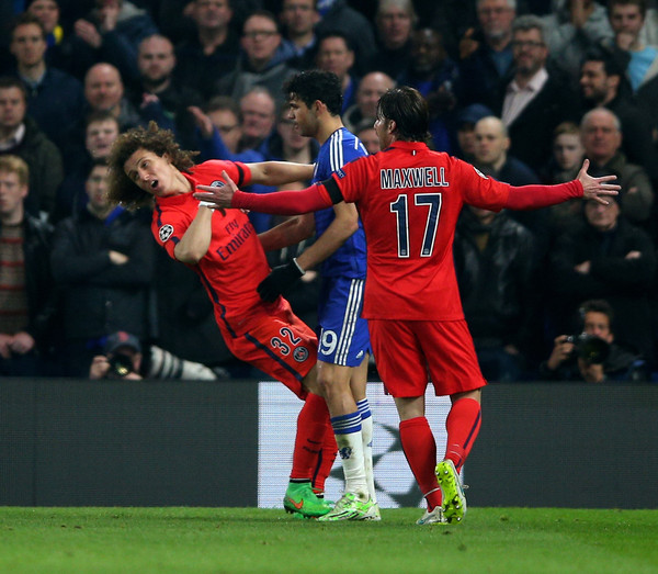 David Luiz of PSG clashes with Diego Costa of Chelsea during the UEFA Champions League Round of 16, second leg match between Chelsea and Paris Saint-Germain at Stamford Bridge on March 11, 2015 in London, England.