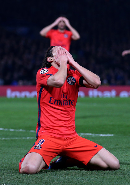 Edinson Cavani of PSG reacts after a missed chance on goal during the UEFA Champions League Round of 16, second leg match between Chelsea and Paris Saint-Germain at Stamford Bridge on March 11, 2015 in London, England.