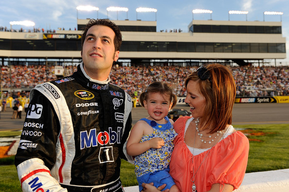 Addison Hornish Sam Hornish Jr.,  driver of the #77 Mobil 1 Dodge, stands on the grid with his wife  Crystal and daugher Addison prior to the start of the NASCAR Sprint Cup  Series Crown Royal Presents the Heath Calhoun 400 at Richmond  International Raceway on May 1, 2010, 2010 in Richmond, Virginia.