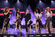 Ally Brooke Hernandez, Camila Cabello of Fifth Harmony, JoJo Wright, Normani Kordei Hamilton, and Dinah Jane Hansen of Fifth Harmony speak on the Honda Stage at iHeartRadio Theater on February 5, 2015 in Burbank, California.