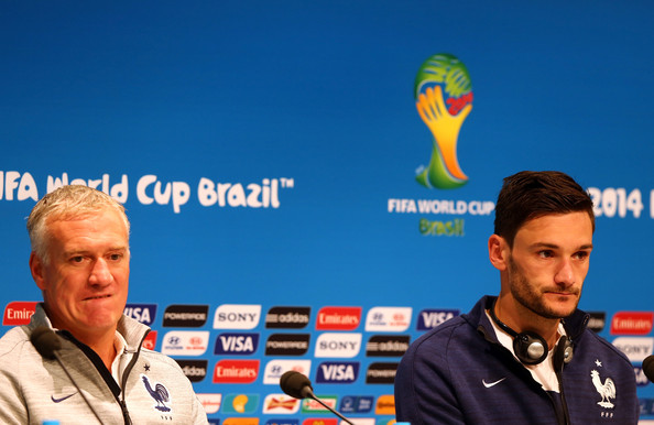 Didier Deschamps, head coach of France and goalkeeper Hugo Lloris (R) attend the France national team press conference at Maracana on July 3, 2014 in Rio de Janeiro, Brazil.