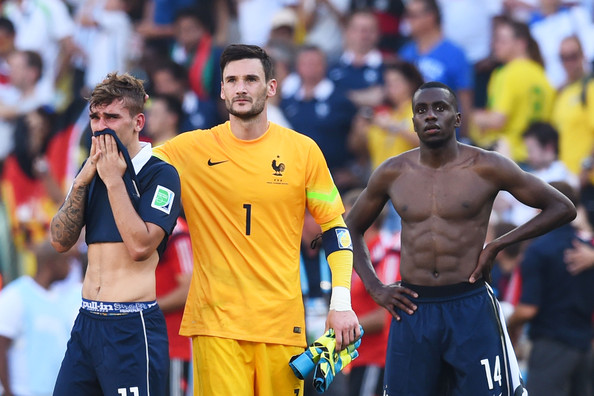 (L-R) Antoine Griezmann, Hugo Lloris and Blaise Matuidi of France react after being defeated by Germany 1-0 during the 2014 FIFA World Cup Brazil Quarter Final match between France and Germany at Maracana on July 4, 2014 in Rio de Janeiro, Brazil.