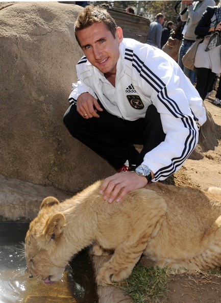 Miroslav Klose Miroslav Klose of the German National Team strokes a lion cup during a visit at the Lion Park on June 25, 2010 in Lanseria, South Africa.