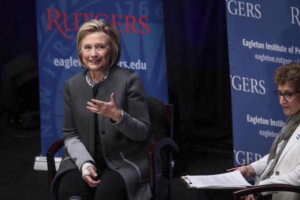Hillary Clinton Speaks At Rutgers University's Eagleton Institute Of Politics Forum